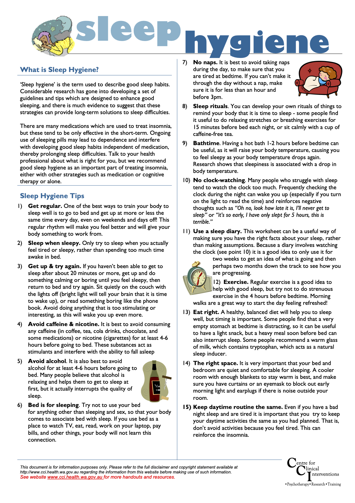 sleep information sheet - 04 - sleep hygiene